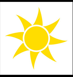 yellow sun icon isolated on white background flat vector image vector image
