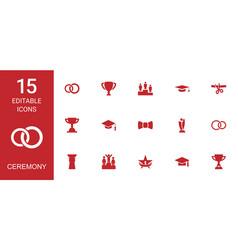 15 ceremony icons vector