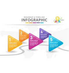 5 steps modern timeline diagram with arrows vector image