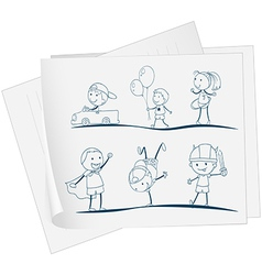 A paper with a sketch of kids playing vector image
