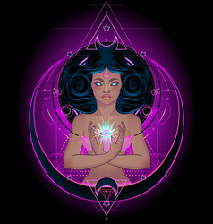 African american magic woman holding all seeing vector
