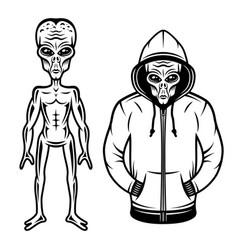 Alien in hoodie and full body set vector