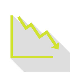 arrow pointing downwards showing crisis pear icon vector image
