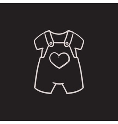 Baby overalls and shirt sketch icon vector image