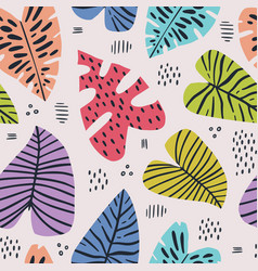 Banana and monstera leaves seamless pattern vector