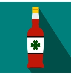 Beer bottle with a clover on the label flat icon vector image