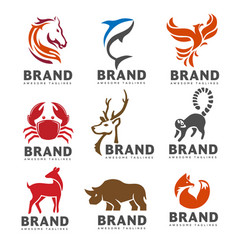 best animal logo collection on white background vector image