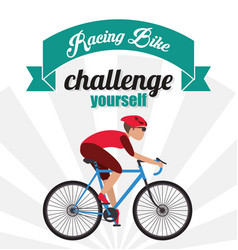 Bike racing male cartoon challenge yourself icon vector