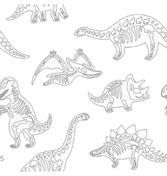 Black and white hand drawn fossil dinosaurs vector