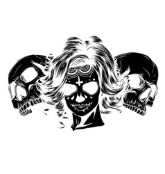 Black silhouette dead girl with two sugar skulls vector
