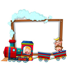 Border template with kids on train vector