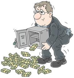 Businessman with bundles of money vector