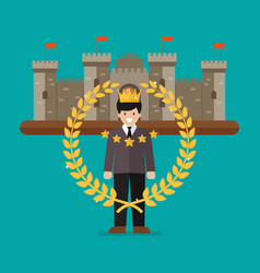 businessman with golden wreath and castle on vector image