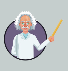 Character scientist physical holding ruler purple vector