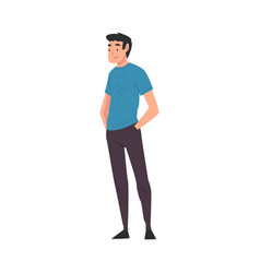 Cheerful man in casual clothes standing with hands vector