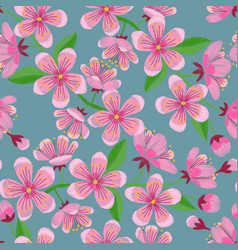 Cherry blossom embroidery seamless pattern vector