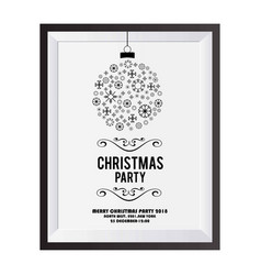 christmas invitation card with snowflakes balls vector image