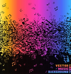 Colourful music notes on black background vector image