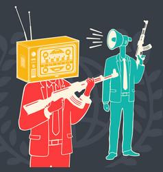 Concept media propaganda weapon vector
