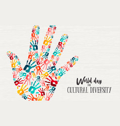 Cultural diversity day diverse hand concept card vector
