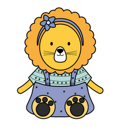 Cute female lioness childish character vector