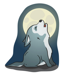 Cute little howling wolf vector
