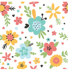 cute seamless floral pattern a white background vector image