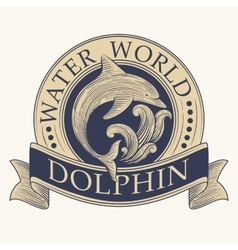 Dolphin retro label vector
