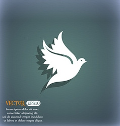 Dove icon symbol on the blue-green abstract vector image