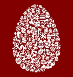 Easter egg made from small egg symbols vector image
