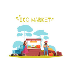 eco market horticulture cartoon vector image