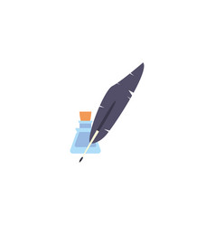 Feather pen and ink antique medieval flat design vector