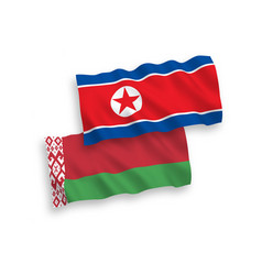 Flags north korea and belarus on a white vector