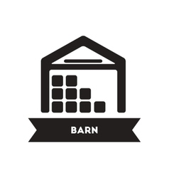 Flat icon in black and white style building barn vector