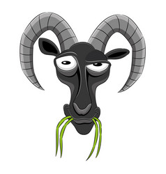 Funny goat with grass vector