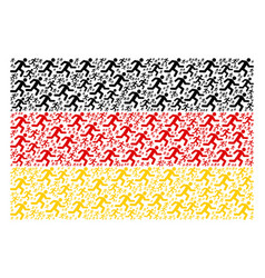 Germany flag collage of running man items vector