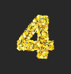 Gold glittering number 4 vector
