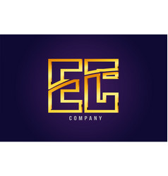 Gold golden alphabet letter ec e c logo vector