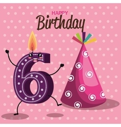 Happy birthday card with candle number vector