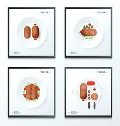 Hot dog sausage set 4 in 1 vector
