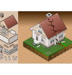 House struck by earthquake vector