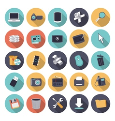 Icons flat colors technology vector