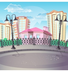 image city quay with lanterns vector image