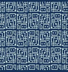 Indigo blue japanese style stitch lines seamless vector