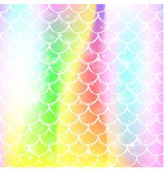 Kawaii mermaid background with princess rainbow vector