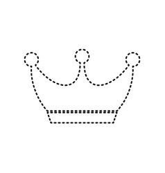 King crown sign black dashed icon on vector