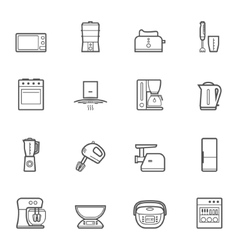 Kitchen appliances line style icon set vector image