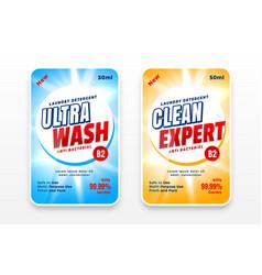 Laundry detergent or disinfectant labels design vector
