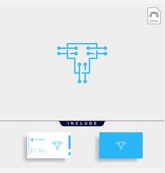 Letter t logo tech wifi design vector