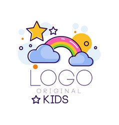 Logo kids creative concept template design vector